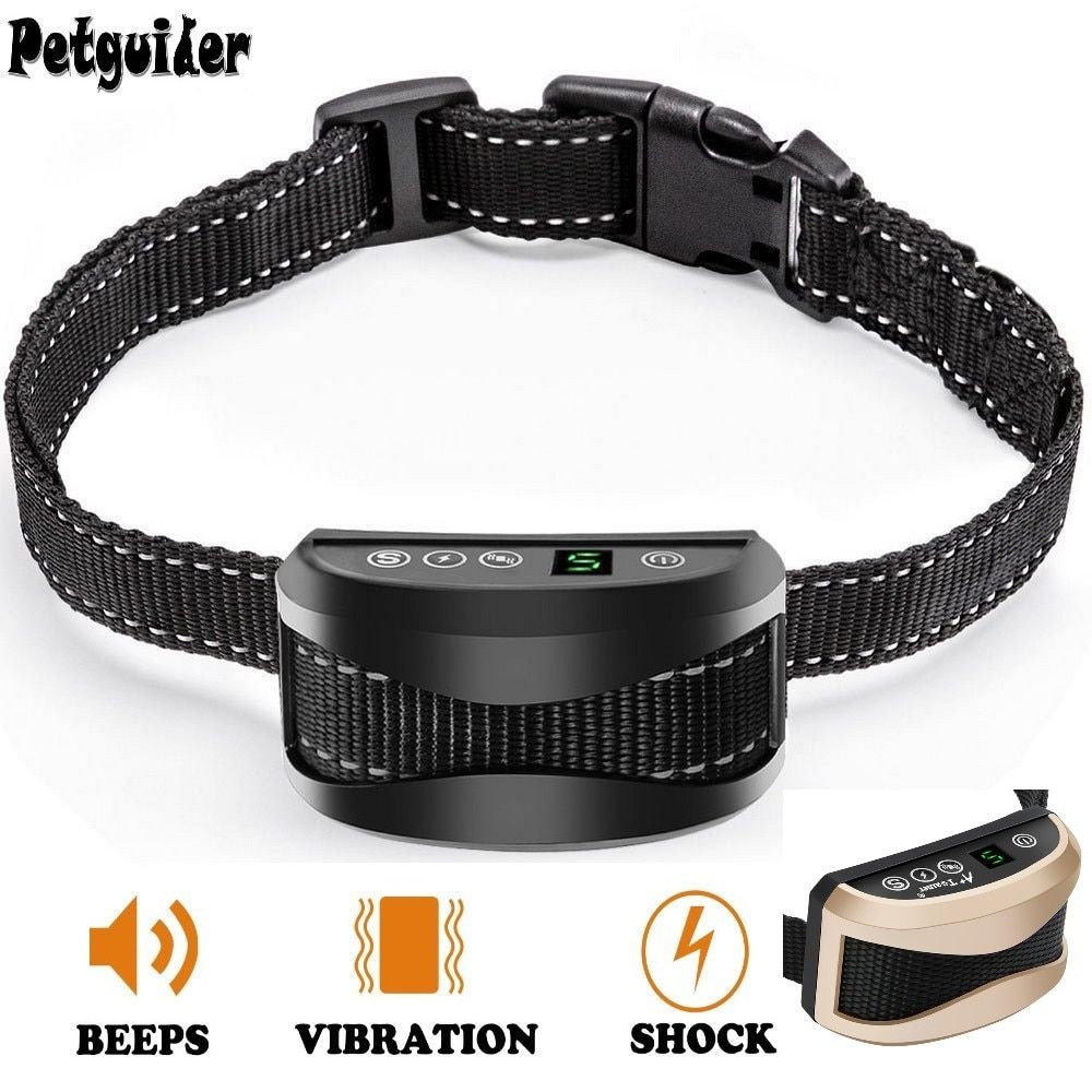 Dog Anti Bark Collar Pet Dog Bark Stop Collar No Bark Waterproof Rechargeable Sound Vibration Pet Training Collar Shock <font><b>Optional</b></font>