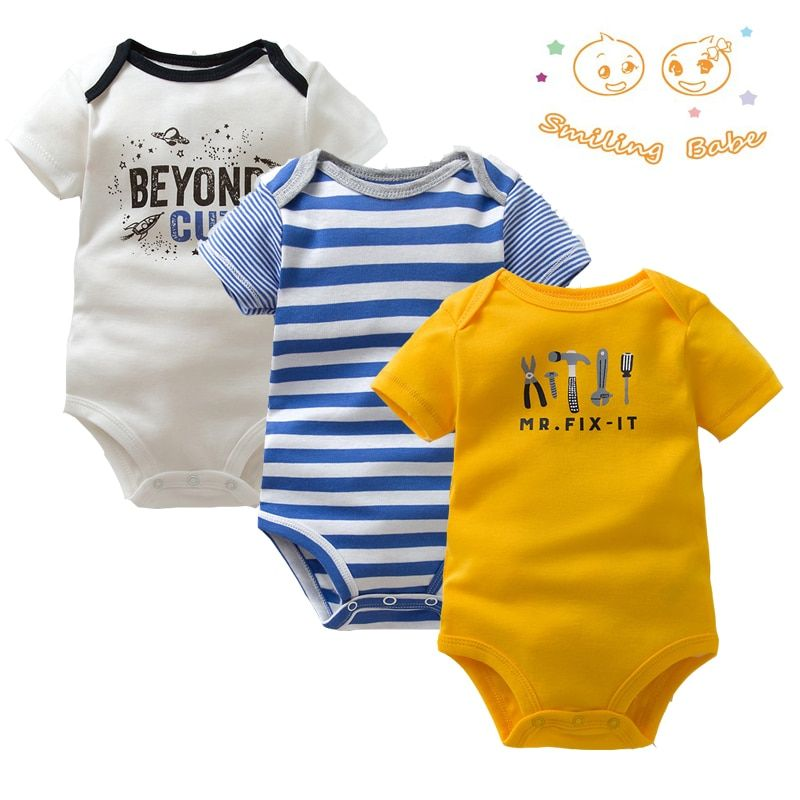 3PCS/LOT Soft Cotton Baby Bodysuit Fashion Baby Boys Girls Clothes Infant Jumpsuit Overalls Short Sleeve Newborn Baby Clothing