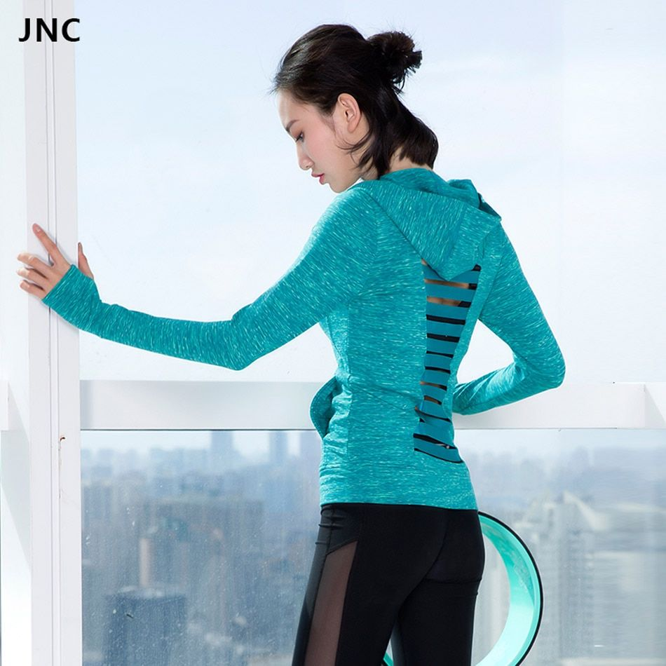 JNC Women Chic Long Sleeve Hoodies Hollow Out Solid Color Grey Sports Jerseys Soft Running Shirts Blue Yoga Top Workout Clothes