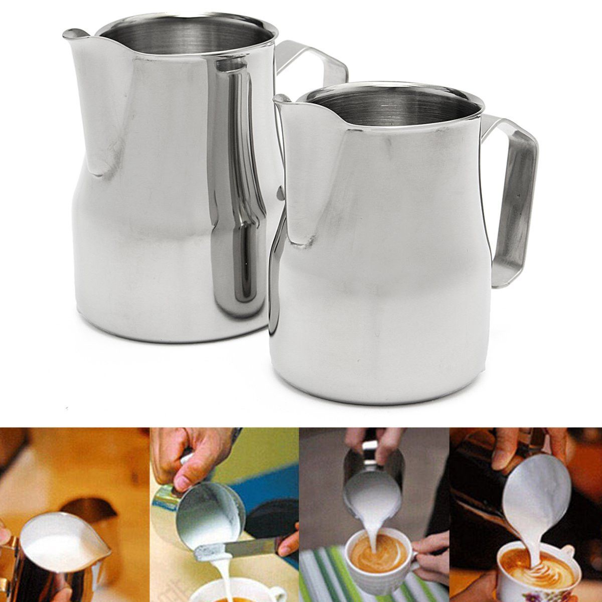 High Qaulity Stainless Steel Milk Frothing Jug Espresso Coffee Pitcher Barista Craft Coffee Latte Milk Frothing Jug 350ml 600ml
