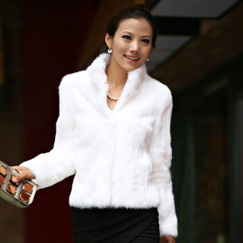 Plus Size XXXL 4XL Autumn and Winter Women's Faux Fur Bolero Stand Collar Short Black Rex Rabbit Fur Coats and Jacket Overcoat