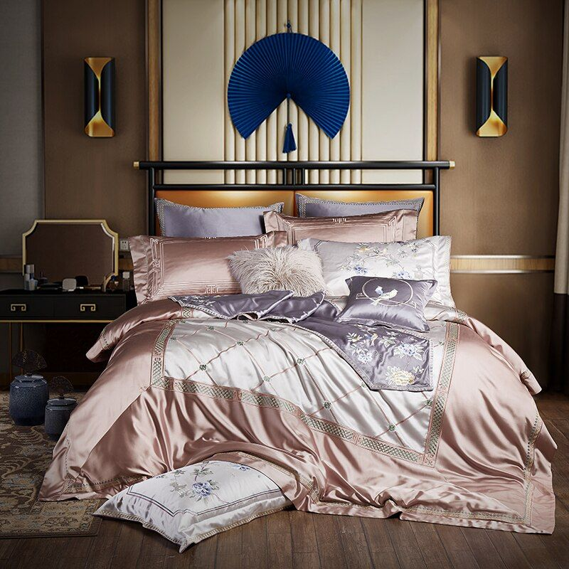 Luxury Embroidery Silk Bedding set Gray King Queen size Bed set Cover Fitted sheet Duvet cover juego de cama linge de lit
