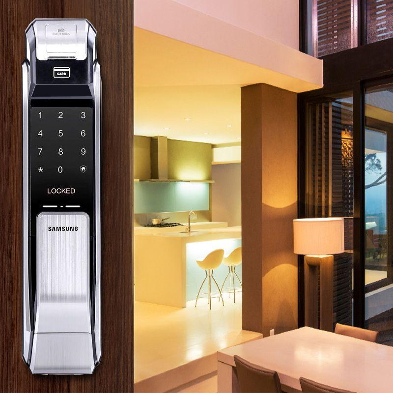 Samsung SHS-P718 Fingerprint Digital Door Lock / Push Pull Door Lock Silver Color Big Mortise English Version