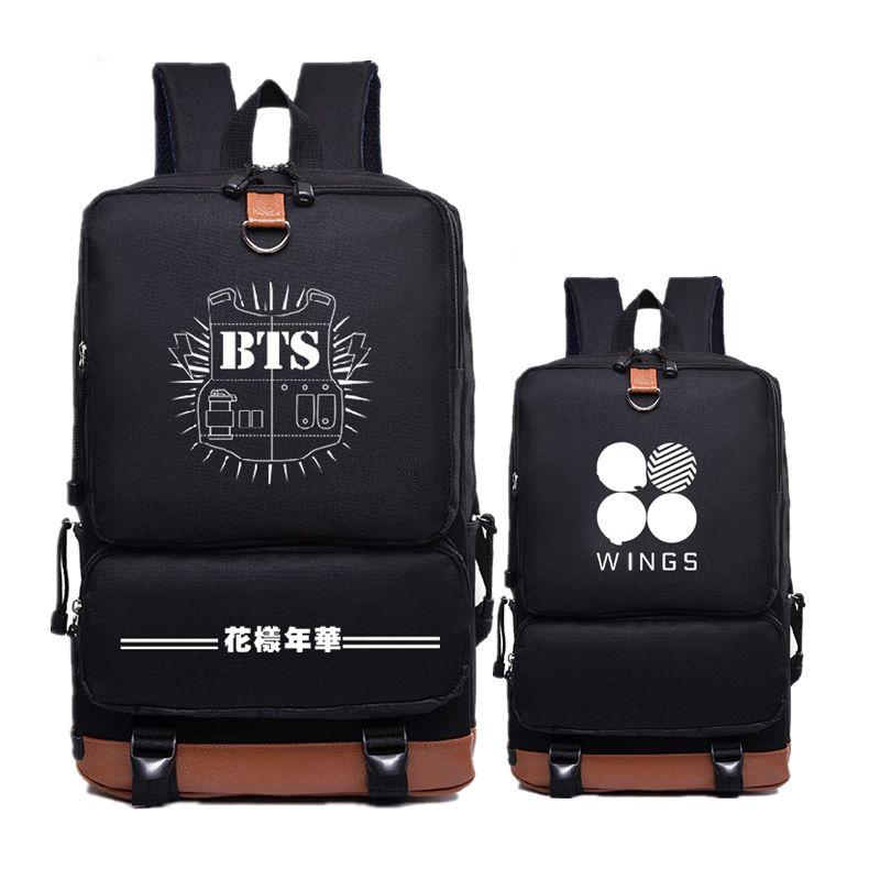 2017 New Canvas Women Printing Backpack BTS Hip Pop WINGS Mochila Feminina School Bags Fashion Laptop Bags Bolsas Feminina