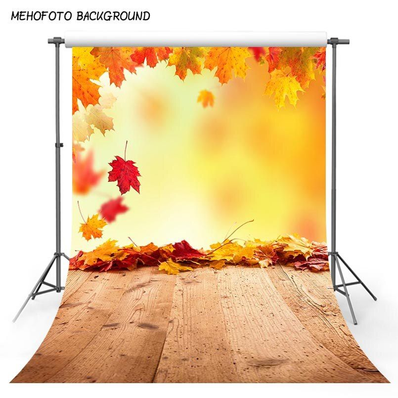 Fall Photo Maple Leaf Booth Photography Backdrops Photo Backgrounds Wood Floor Baby backdrop Newborn Child studio props S-3136
