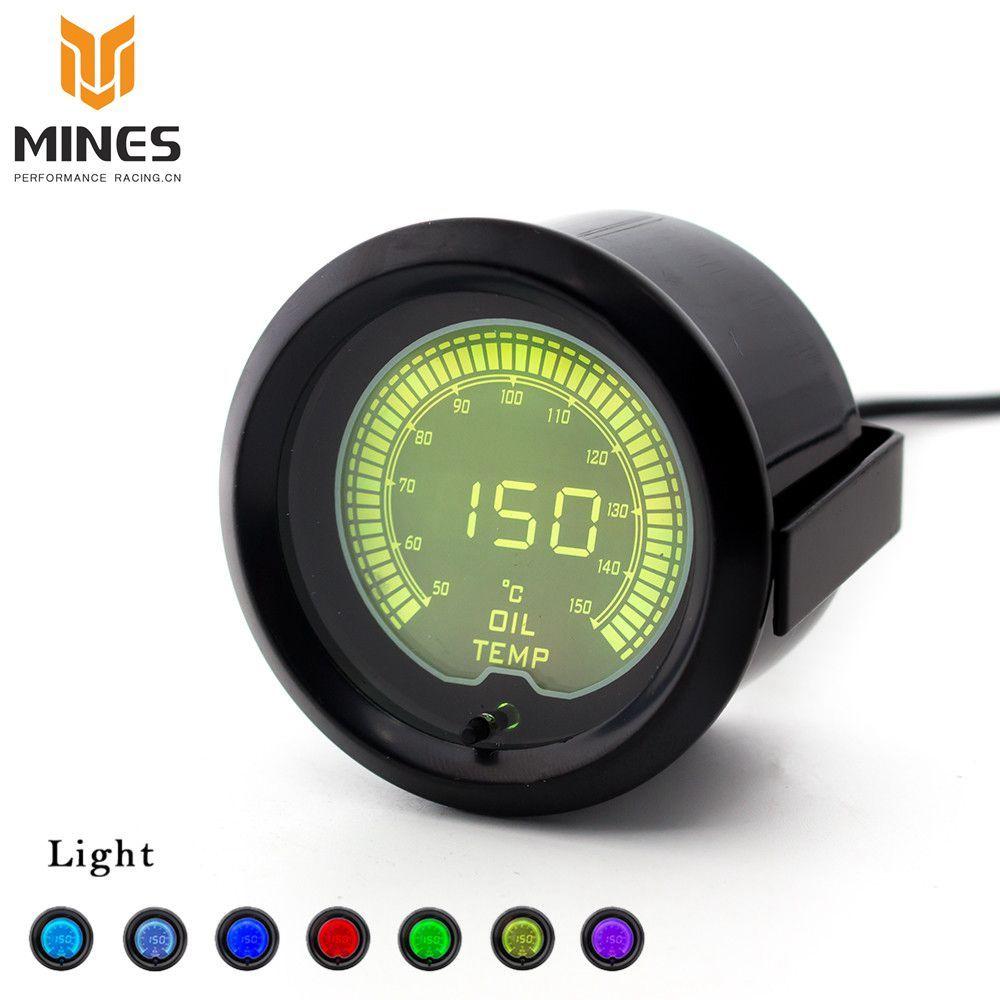 CNSPEED 2(52mm) EVO LCD Color Selectable Oil temp gauge  Car meter Pressure gauge Oil temperature sensor ms100112
