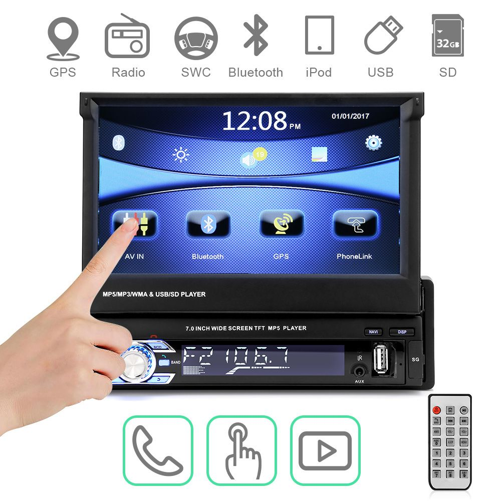 Car Radio Autoradio GPS Bluetooth Car Stereo 1 din 7