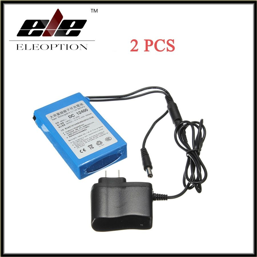 2 PCS DC 12V 4000mAh for Super Protable Rechargeable Switch Li-ion Battery Pack US Plug For Cameras camcorders