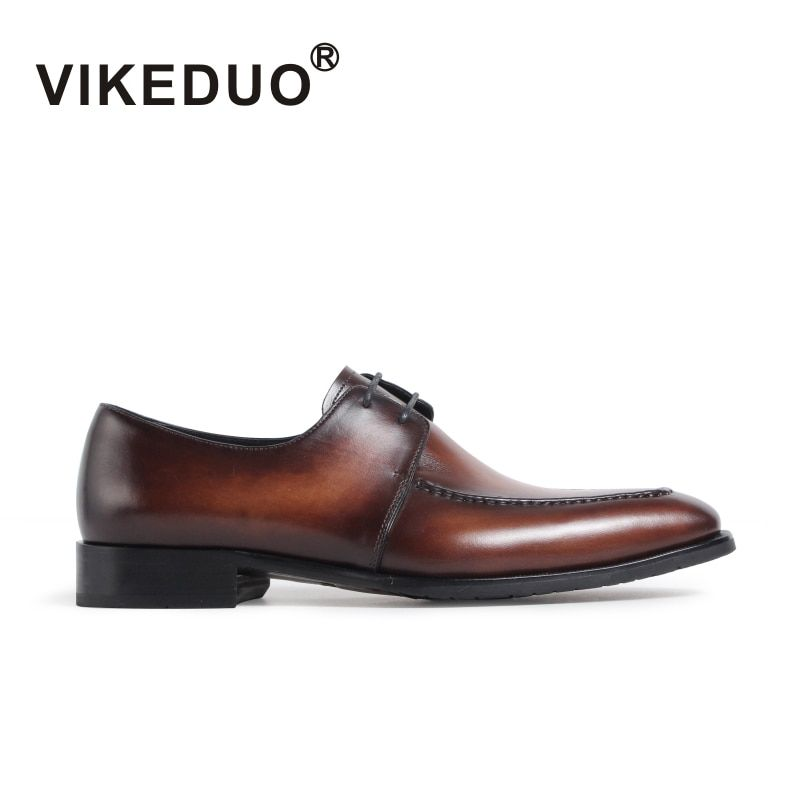 Vikeduo Handmade Vintage retro Men's Derby Shoes Fashion Brand Luxury Wedding Party Dance Genuine leather shoe male dress shoes