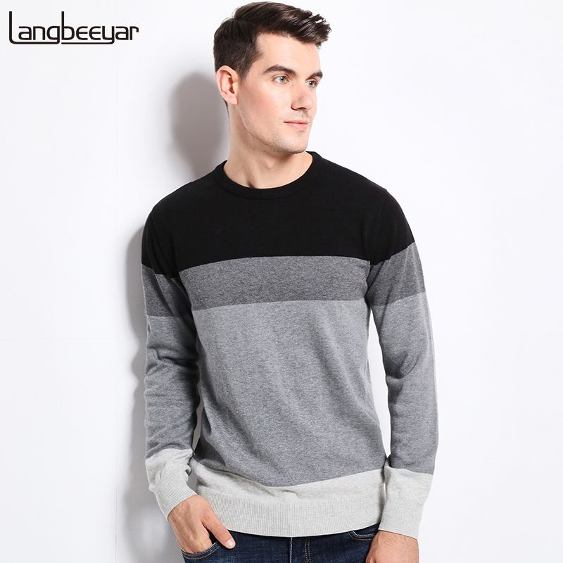 2017 New Autumn Winter Fashion Brand Clothing Men's Sweaters O-Neck Slim Fit Men Pullover 100% Cotton Knitted Sweater Men M-5XL