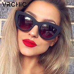 VRCHIC Retro grueso marco gato ojo gafas de sol mujeres señoras marca diseñador espejo lente gafas de sol para mujer oculos de sol