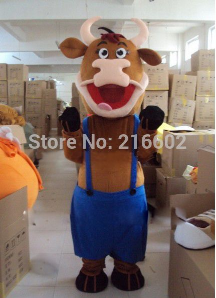 High quality New Bull Ox Cow Mascot Costume Fancy Dress Outfit Free Shipping