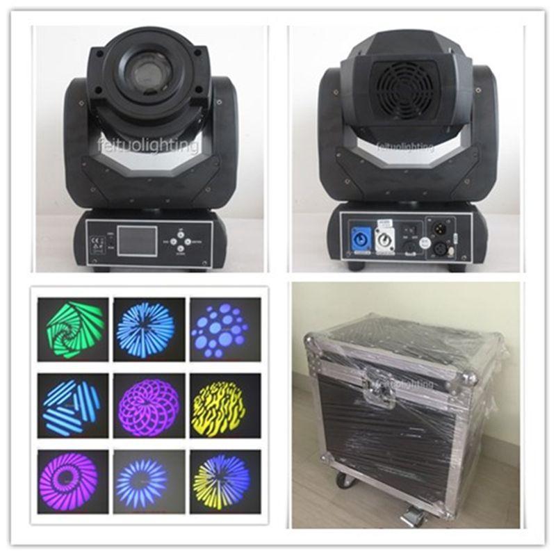 Free shipping 2 pcs/lot flycase 90w led moving head gobo rgbw spot 90 watt led moving head optics