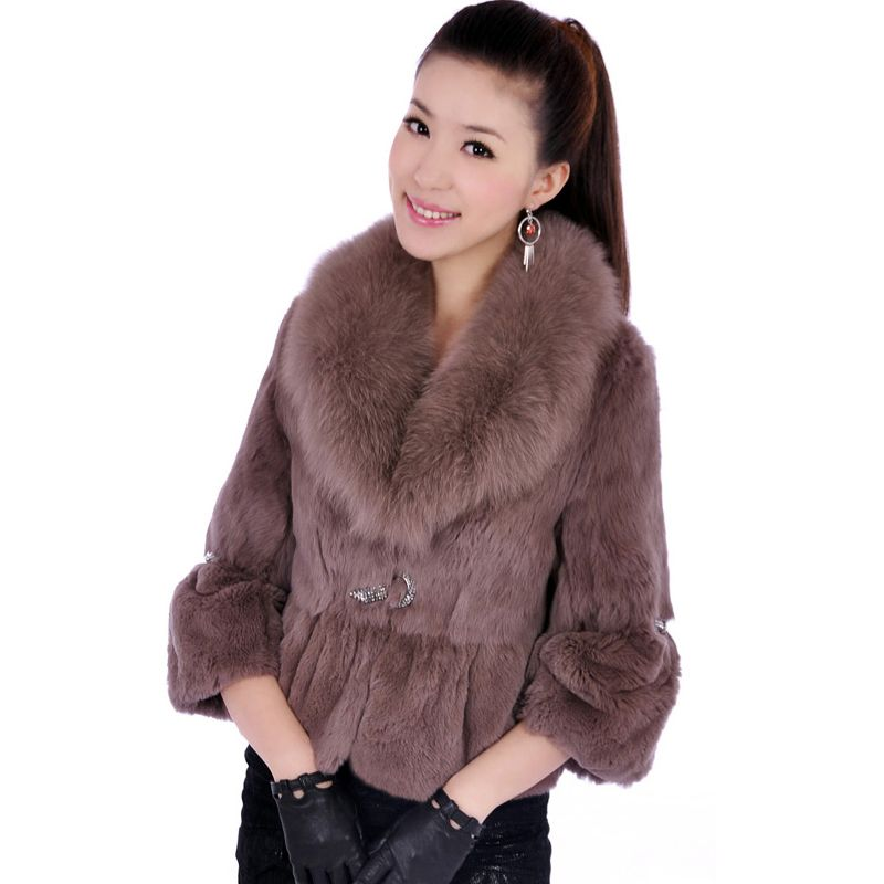 Slim Design Diamond Stone Natural Rex Rabbit Fur Coats Outerwear Women's Real Fox Fur Collar Genuine Fur Jackets 2018 Winter
