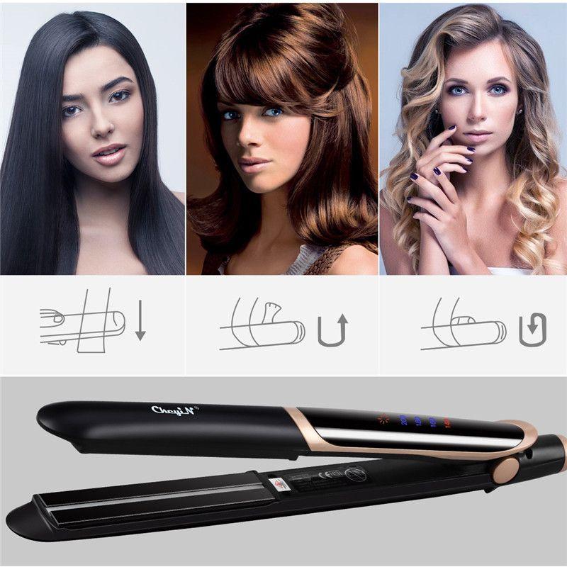LED affichage 2 en 1 en céramique cheveux lisseur peigne cheveux bigoudi rouleau électrique démêlant cheveux redressage plat fer cheveux brosse