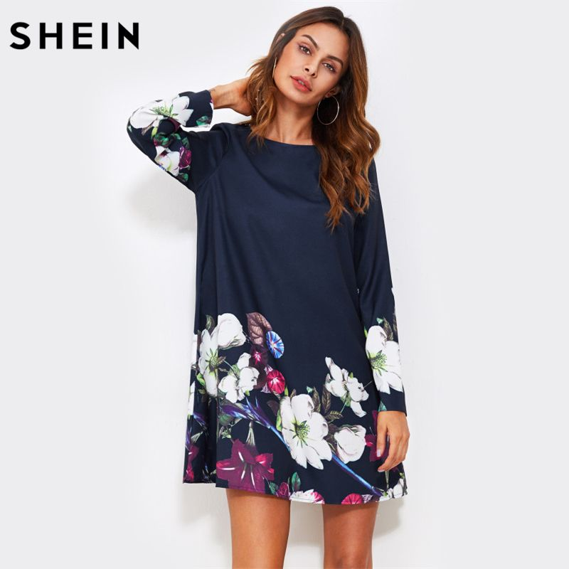 SHEIN Fall Dress Flower Print Flowy Dress Navy Boat Neck Long Sleeve A <font><b>Line</b></font> Dress Autumn 2017 Casual Womens Dress