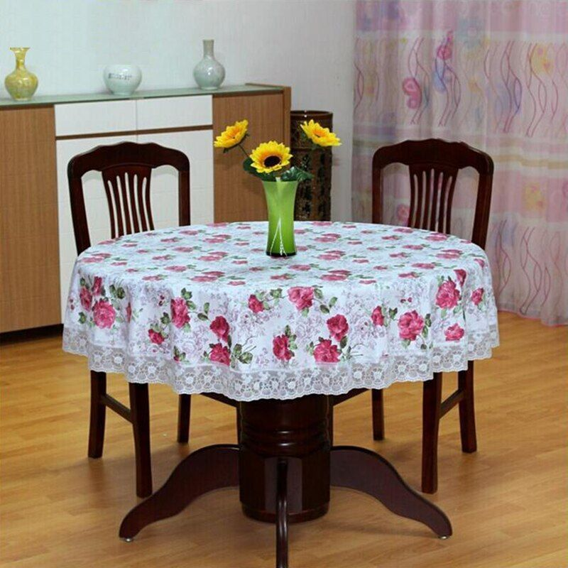 Nouveau Style pastorale PVC nappe ronde imperméable à l'eau étanche à l'huile fleur imprimé en plastique Table couverture maison fête nappe de mariage