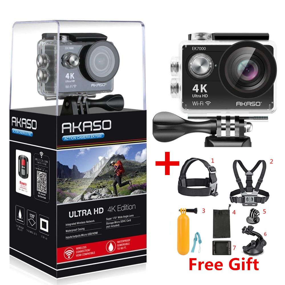 AKASO EK7000 / EK5000 4K WIFI Outdoor Action Camera Video Extreme Sports helm Ultra HD Diving Waterproof 12MP 170 Wide Angle