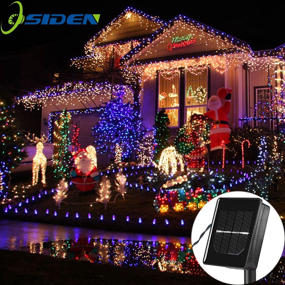 Cordon LED solaire lampes 12M 100LED s fleur lumières décoratives étanche blanc fée jardin extérieur lumière de noël