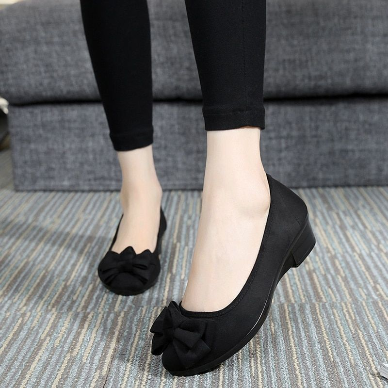 Primavera zapatos de algodón hecho a beijing zapatos de mujer negro zapatos de herramientas arco solos zapatos cuñas zapatos de trabajo cómodo