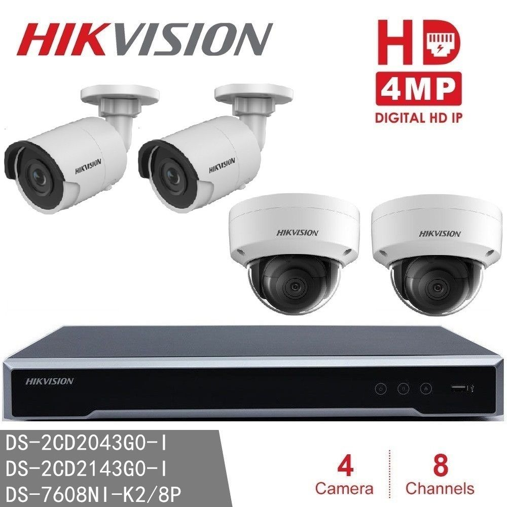 Hikvision CCTV System NVR DS-7608NI-K2/8P 8POE + DS-2CD2143G0-I & DS-2CD2043G0-I 4MP IP Surveillance Camera H265 P2P network