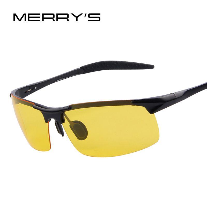 MERRY'S Aluminiumlegierung Nacht Fahren Sonnenbrille Goggles Driving Gläser