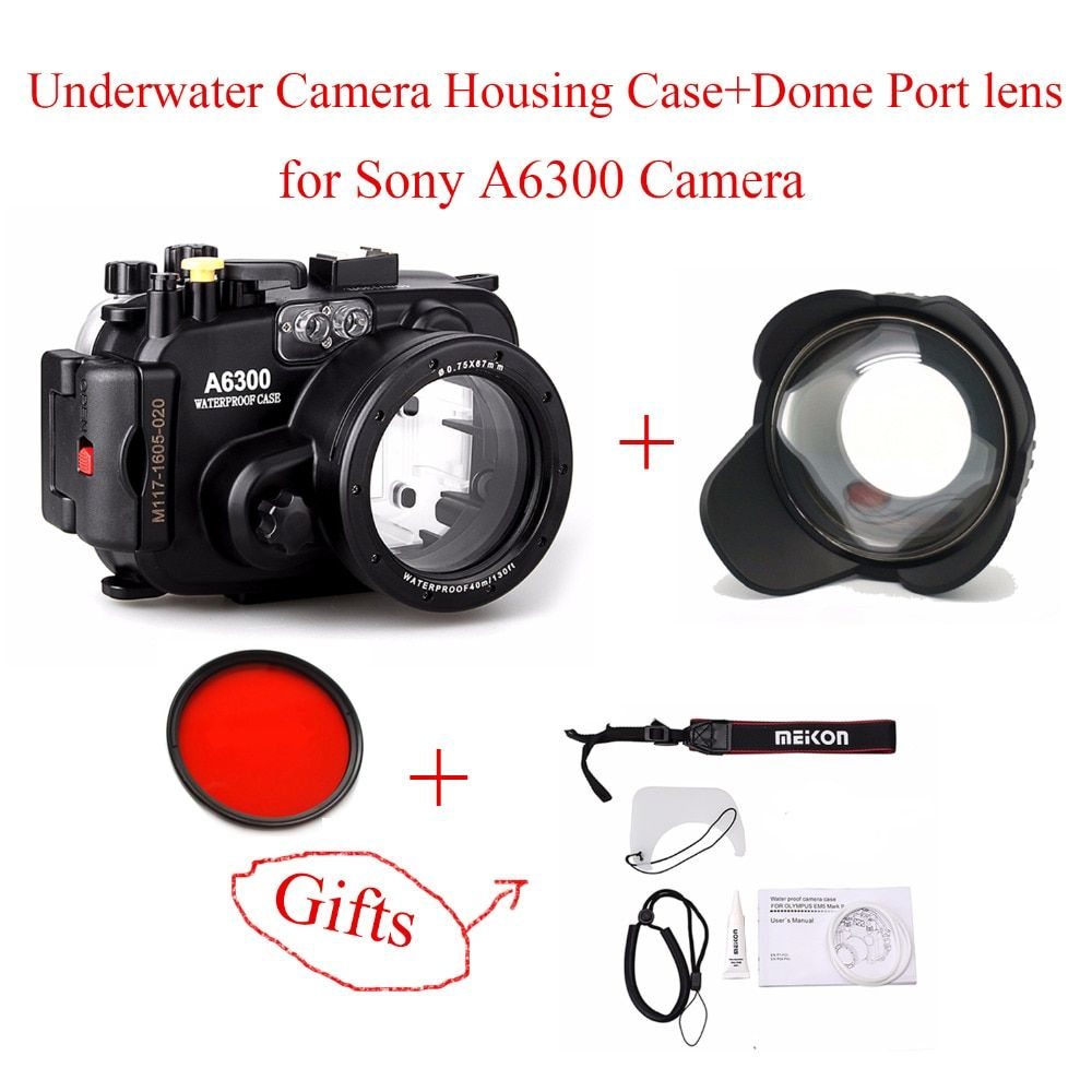 Meikon 40m/130ft Waterproof Underwater Camera Housing Case for Sony A6300,Camera Waterproof Bags Case + Dome Port lens for A6300