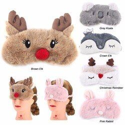 Cute Animal Eye Cover Sleeping Mask Eyepatch Bandage Blindfold Christmas Deer Winter Cartoon Nap Eye Shade Plush Sleeping Mask