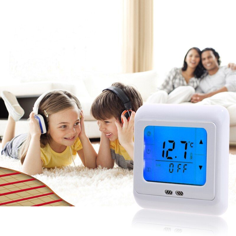 Blue Backlight Thermoregulator Touch Screen Heating Thermostat for Hot Warm Floor,Electric Heating System Temperature Controller