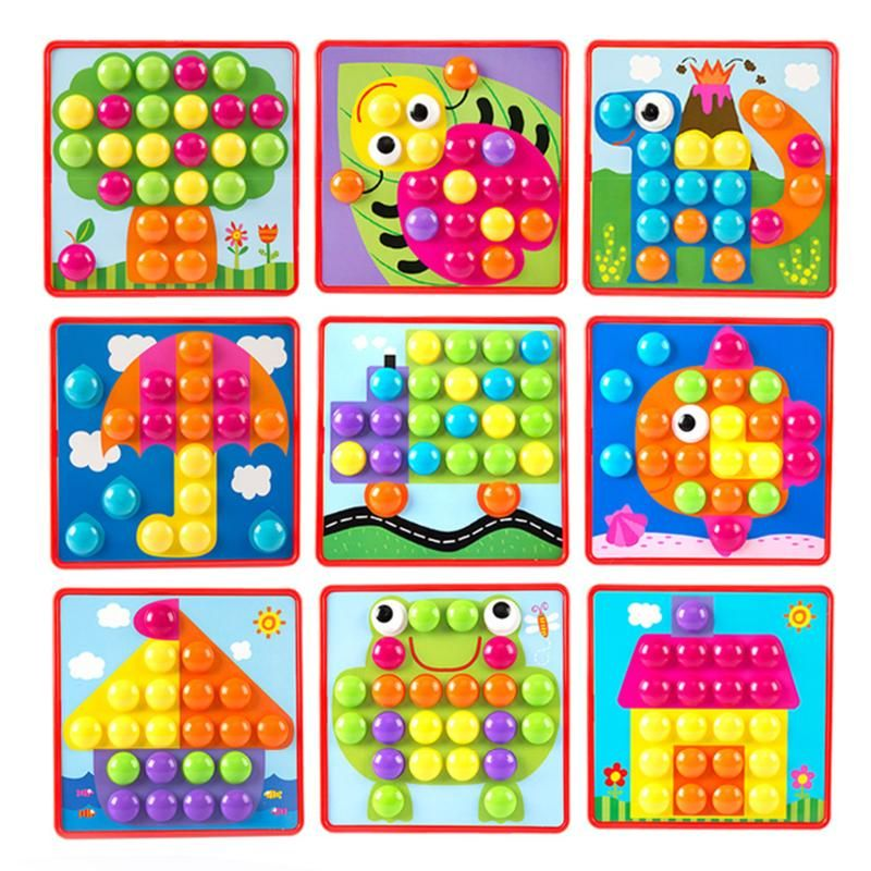 3D Puzzles Toys for Children Creative Mosaic Mushroom Nail Kit Buttons Art Assembling <font><b>Kids</b></font> Enlightenment Educational Toys Mosaic