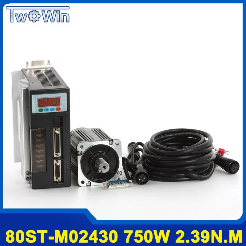 750 watt AC Servo Motor 80ST-M02430 Servo Motor 3000 rpm 2.39Nm AC Motor + Servo Motor Fahrer mit 3 mt kabel
