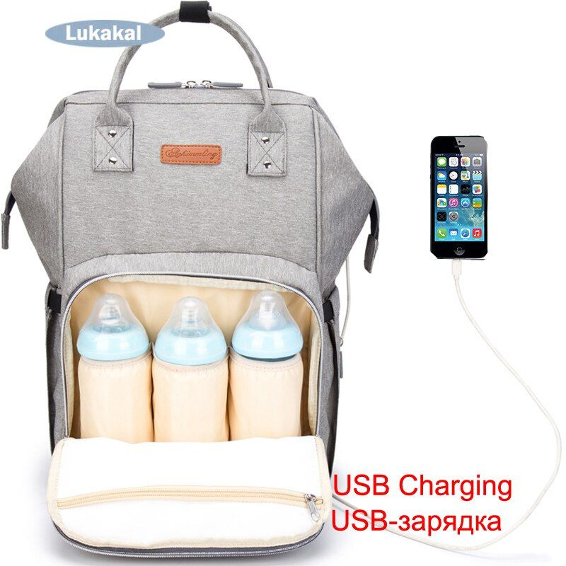 2019 New USB Interface Baby Diaper Bag Large Mummy Bag Backpack Baby Care WaterProof Luiertas Mummy Maternity Baby Nappy Bag