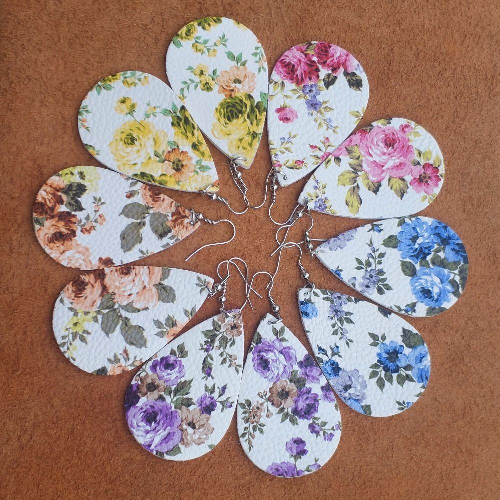 Rose Flower Leather Earrings headwear Gift