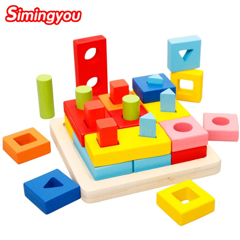 Simingyou Wooden Toys Puzzle Color Toy For Color Exerciseand Shape Identification Exercise Drop Shipping