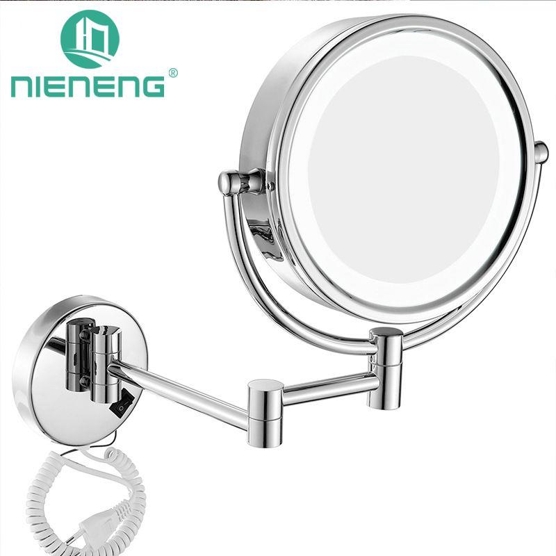 Nieneng Make-Up Spiegel LED Wand Montiert Erweiterung Folding Doppelseite FÜHRTE Licht Spiegel 3X 10X Bad spiegel Wc Spiegel ICD60521