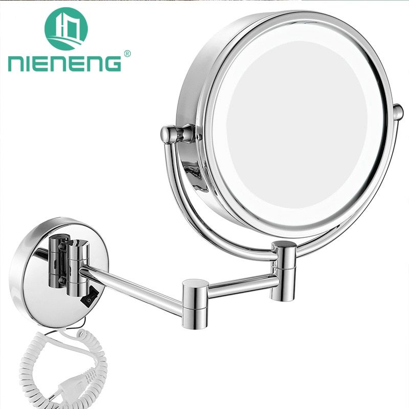 Nieneng Makeup Mirrors LED Wall Mounted Extending Folding Double Side LED Light Mirror 3X 10X Bath mirror Toilet Mirror ICD60521
