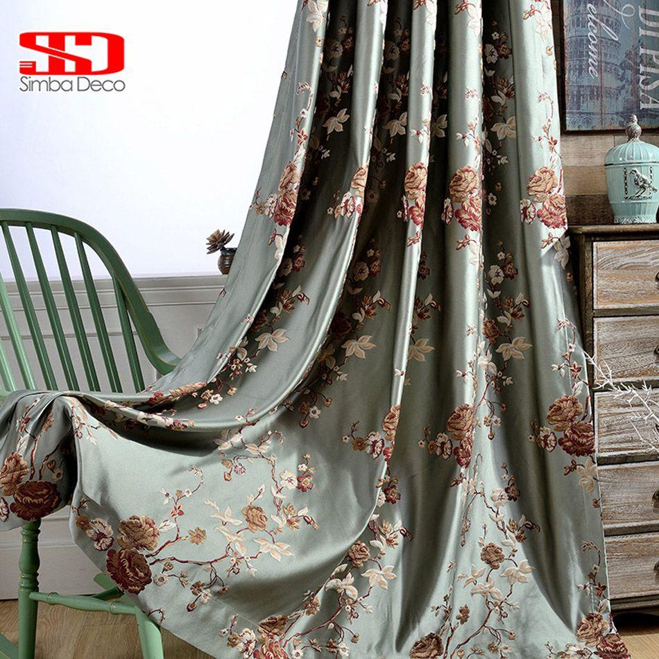 Chinois De Luxe Blackout Rideaux Pour Salon Chambre Rideaux Brodés Vert Fenêtre Floral Cuisine Tissu Personnalisé Taille Panneau