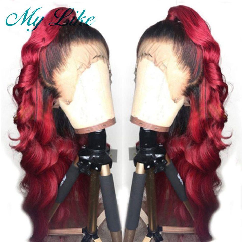 Meiner Wie Ombre Rot Volle Spitze Perücken Brasilianische Körper Welle Glueless Menschenhaar Perücken Pre Gezupft mit Baby Haar Ombre remy Spitze Perücke