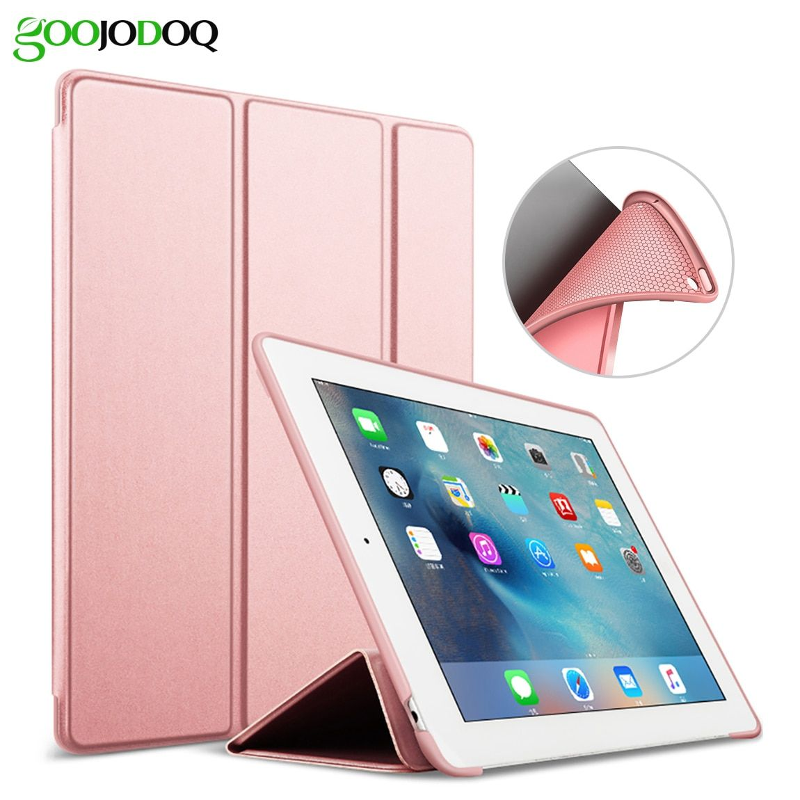 For iPad 9.7 2017 Case A1822 A1823 Silicone Soft Back PU Leather Smart Cover for iPad 2017 Case 9.7 inch Case Auto Sleep/Wake up