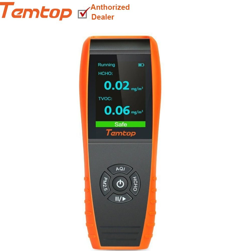 Air Quality Detector Professional Formaldehyde Monitor Temperature and Humidity Detector with PM2.5/PM10/HCHO/AQI/Particl