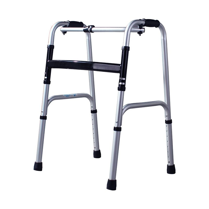 Lightweight Walker for Disabled with Four Foot Foldable Aluminum Alloy Walker 8 Gear Height Adjustable Rehabilitation Equipment