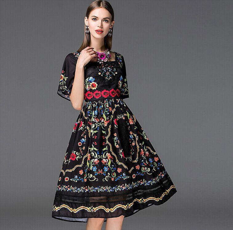 Nouveauté 2019 femmes encolure carrée manches courtes imprimé Floral broderie haute rue élégant robes de piste