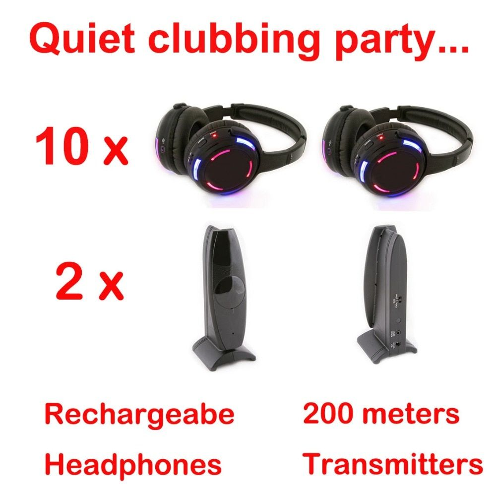Silent Disco compete system black led wireless headphones - Quiet Clubbing Party Bundle (10 Headphones + 2 Transmitters)