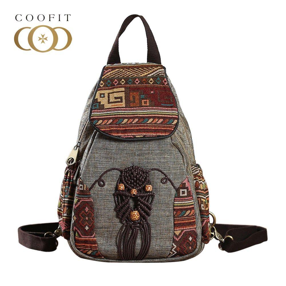 Coofit Women Backpack Female Vintage Handmade Backpacks For Girls Mini Backpack National Style Geometrical Print Canvas Bagpack