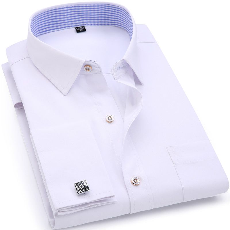 Hommes Robe de Chemises Français Manchette Bleu Blanc À Manches Longues Business Casual Shirt Slim Fit Solide Couleur Français boutons de Manchette Chemise