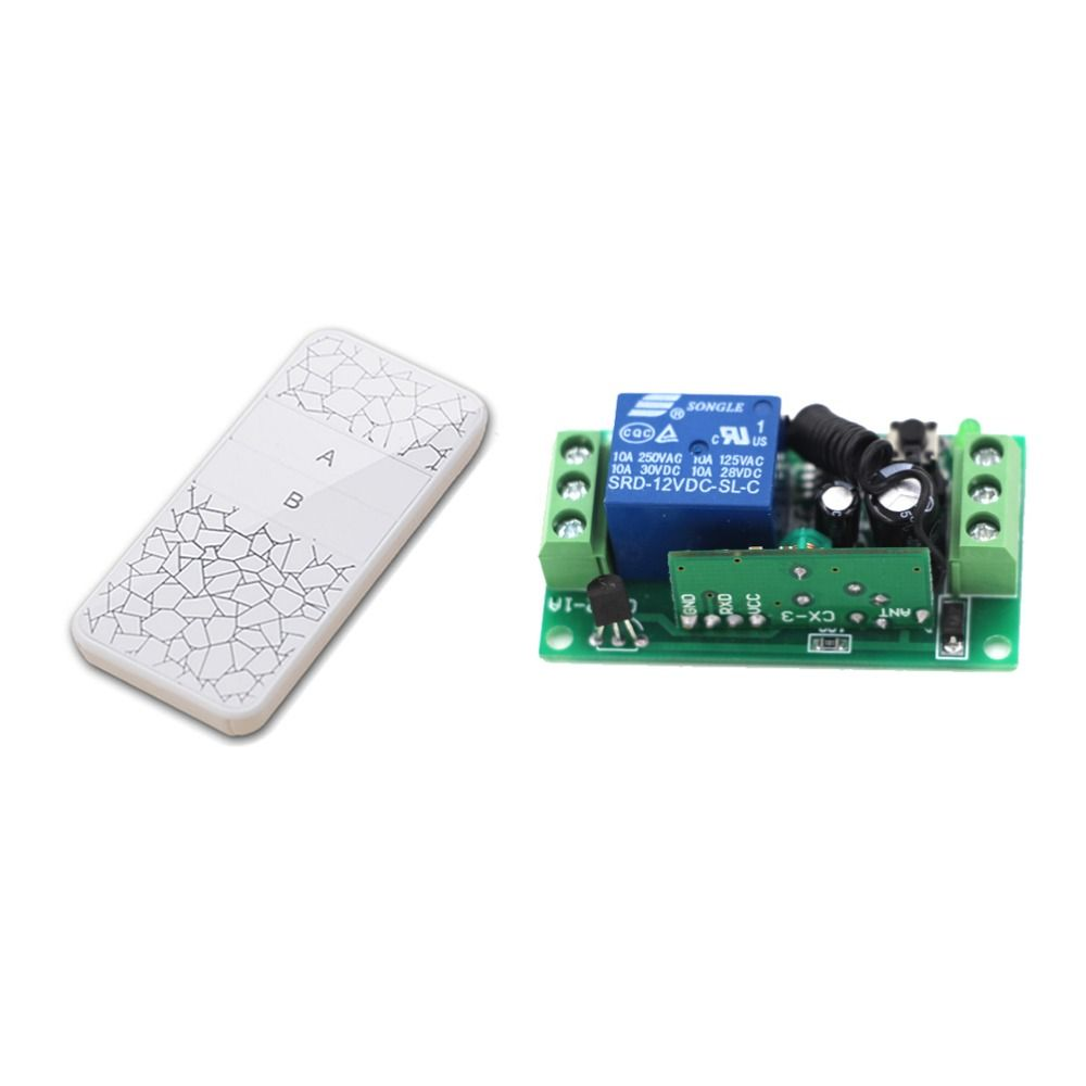 New DC12V 9V 24V RF Wireless Remote White Color Controller with Two Buttons and Receiver for Smart Home 315/433mhz