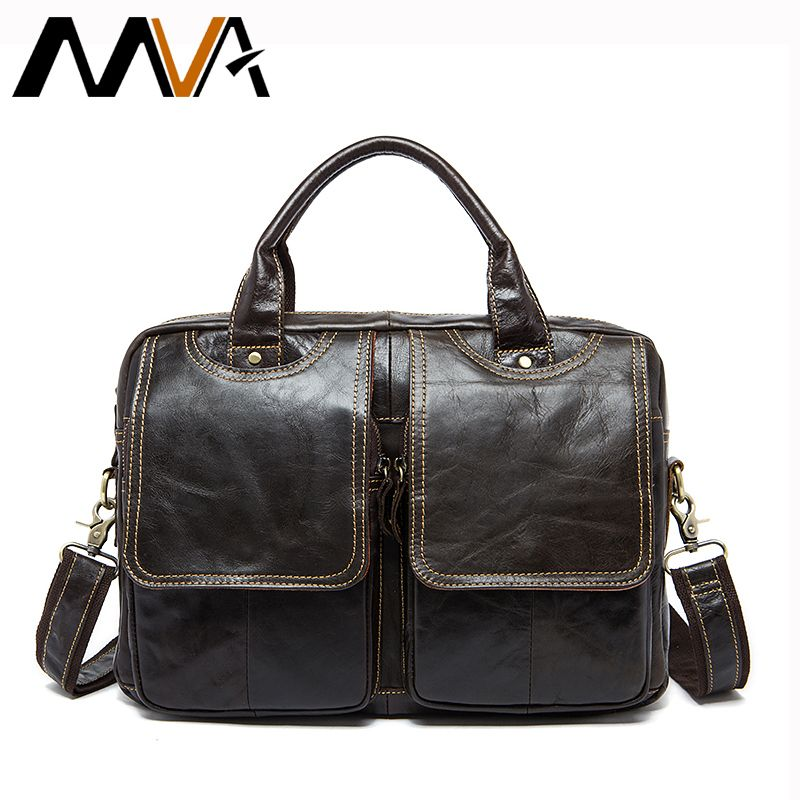 MVA Genuine Leather Men's Briefcases men's leather bags Laptop bag 14inch business Handbags Shoulder Bags Crossbody Bag 8002-1