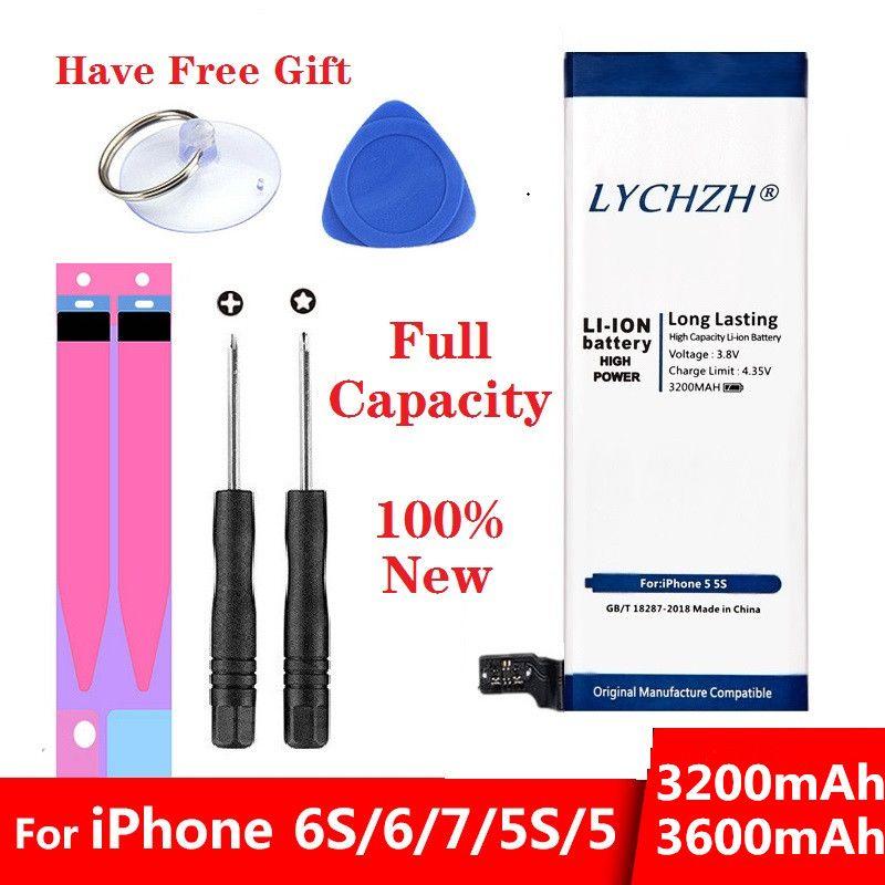 2019 Batterie de téléphone originale pour iPhone 6S 6 5 5S 7 Batterie de remplacement 0 Cycle Batterie pour iPhone 6S boîtier à autocollants outil gratuit