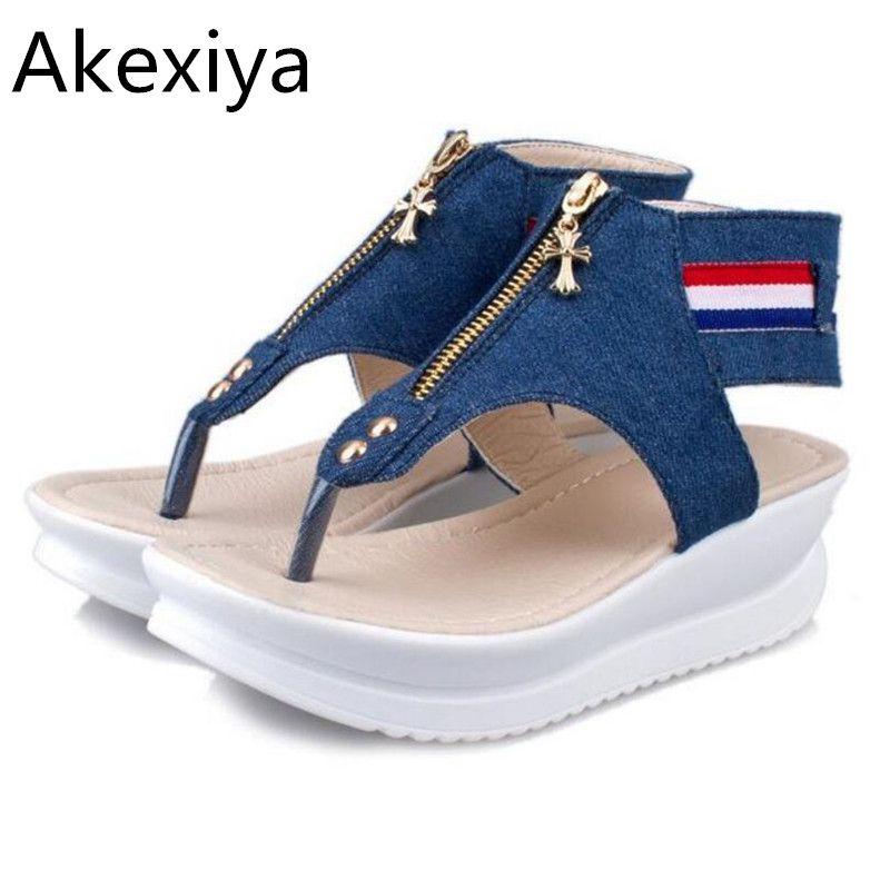 Akexiya 3 cm plataforma open toes sandalia sandalias planas de las mujeres 2017 nuevas mujeres del verano zapatos de mujer sandalias de verano femenino zapatos 103