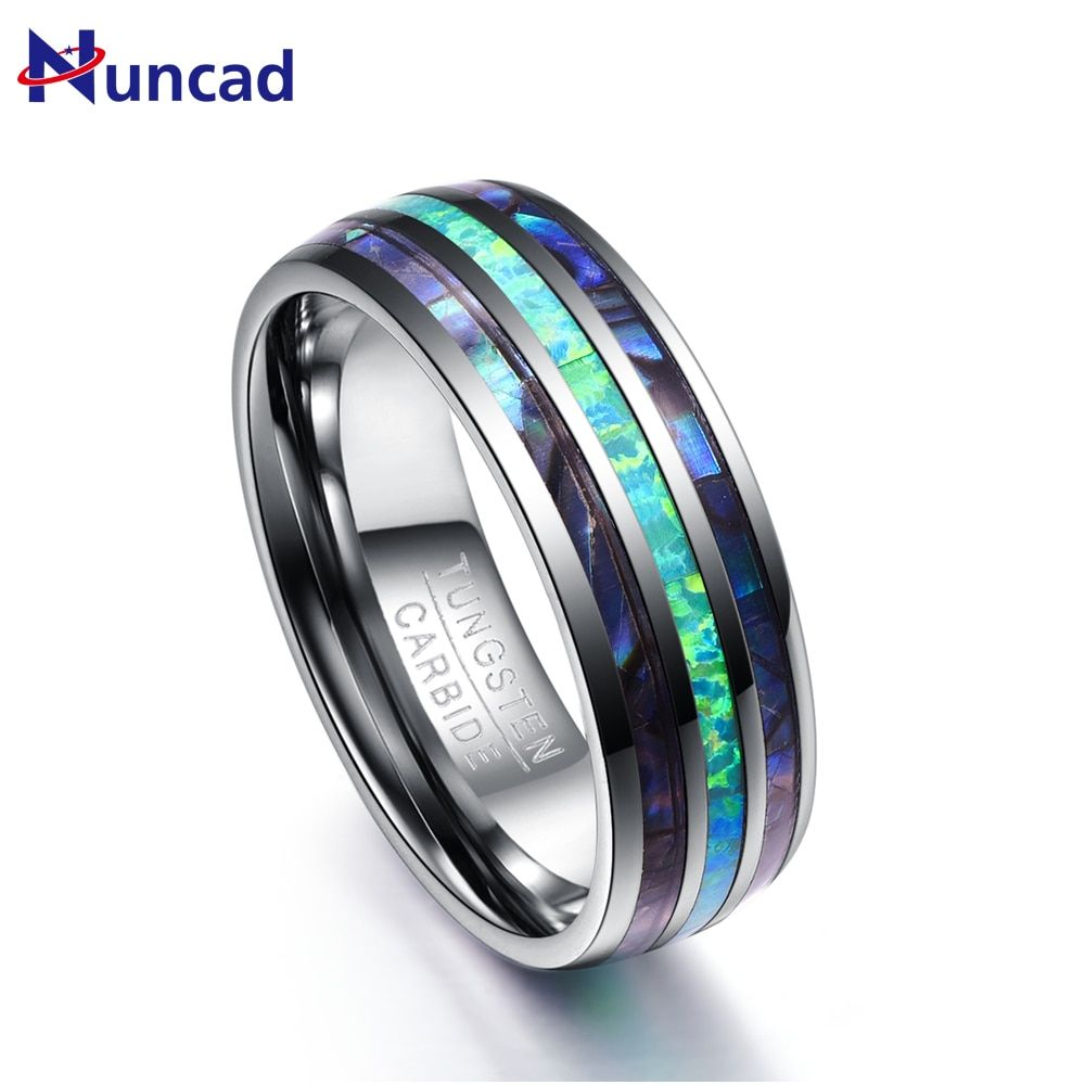 Nuncad 8MM Wide Polished Abalone Shell tungsten carbide rings Dome Triple Grooved opal Tungsten Steel Ring never fade T082R